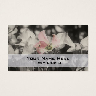 Pink Dogwood Flowers In Black And White Business Card