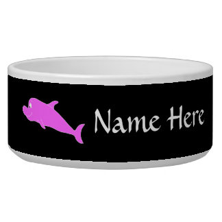 Pink Dolphin on Black. Dog Water Bowl