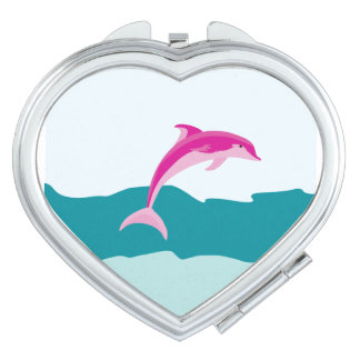 Pink dolphin theme compact mirror