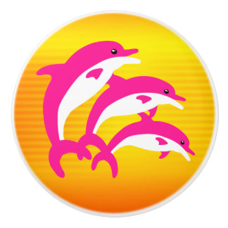 Pink Dolphins Dancing in the Tropical Sun Ceramic Knob