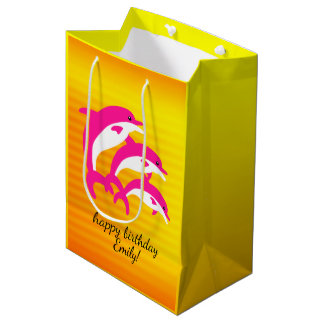 Pink Dolphins Dancing in the Tropical Sun Medium Gift Bag