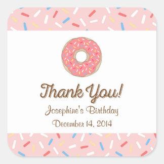 Pink Donut Birthday Stickers