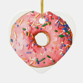 pink donut ceramic ornament