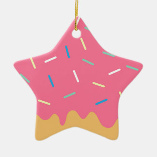 Pink Donut Ceramic Ornament