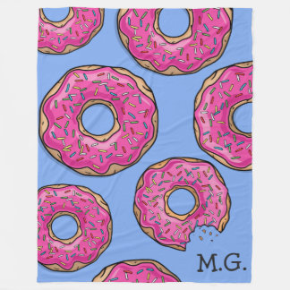 Pink Donut Cluster Custom Name Blue Fleece Blanket