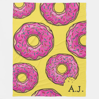 Pink Donut Cluster Custom Name Fleece Blanket