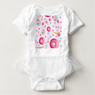 Pink Donut Collage Baby Bodysuit