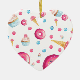 Pink Donut Collage Ceramic Ornament