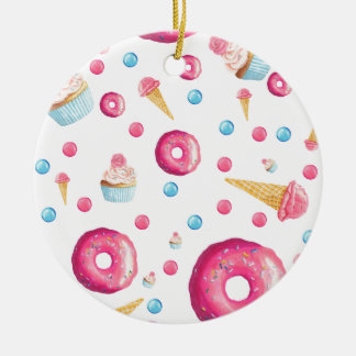 Pink Donut Collage Ceramic Ornament