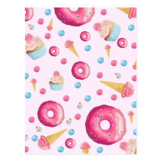 Pink Donut Collage Postcard