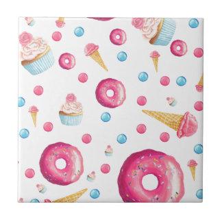 Pink Donut Collage Tile