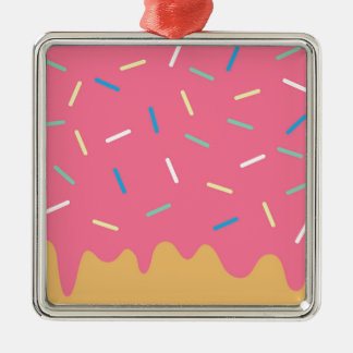 Pink Donut Metal Ornament