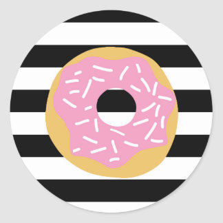 Pink Donut Party Stickers