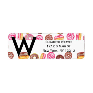 Pink Donut Typography and Watercolor Cute Donuts