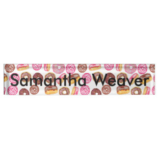 Pink Donut Typography and Watercolor Cute Donuts Name Plate