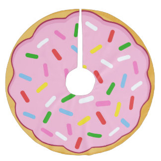 Pink Donut with Colorful Sprinkles Brushed Polyester Tree Skirt