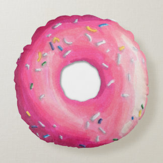 Pink Donut with sprinkles round pillow