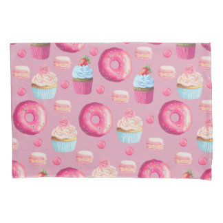 Pink Donuts, Cupcakes, and Candies Pillowcase