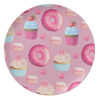Pink Donuts, Cupcakes, and Candies Plate