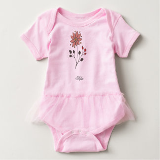 Pink doodle daisy flower baby bodysuit