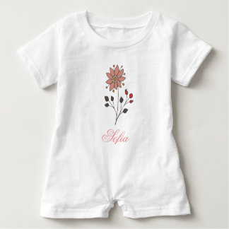 Pink doodle daisy flower baby romper