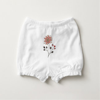 Pink doodle daisy flower diaper cover
