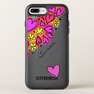 Pink Doodle Hearts OtterBox Symmetry iPhone 8 Plus/7 Plus Case