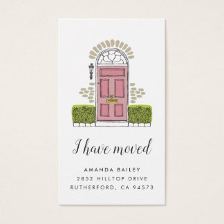 Pink Door Moving Announcement Insert Cards