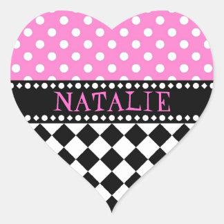 Pink Dot Checkerboard Heart Sticker