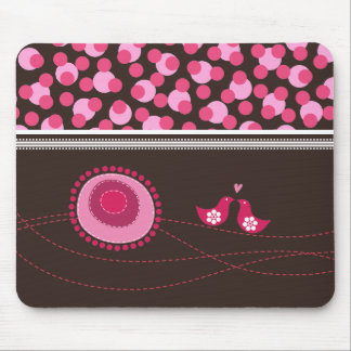Pink Dot Flowers & Happy Birds Pattern Mousepad