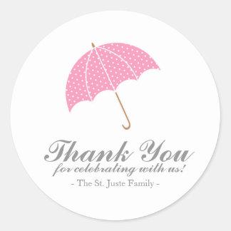 pink dot umbrella BABY SHOWER party favor sticker