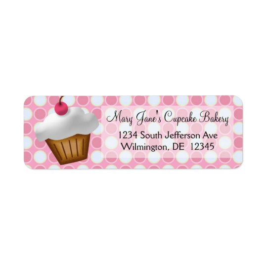 Pink Dots Cupcake Custom Return Address Label
