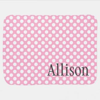 Pink Dots Custom Name Baby Blanket