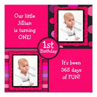 Pink Dots Girls First Birthday Photo Invitation