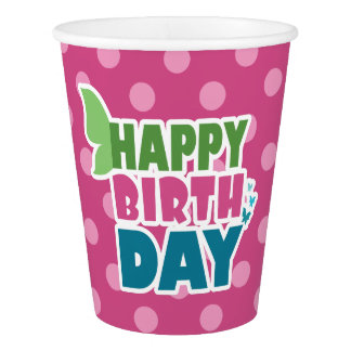 Pink dots happy birthday butterfly paper cup