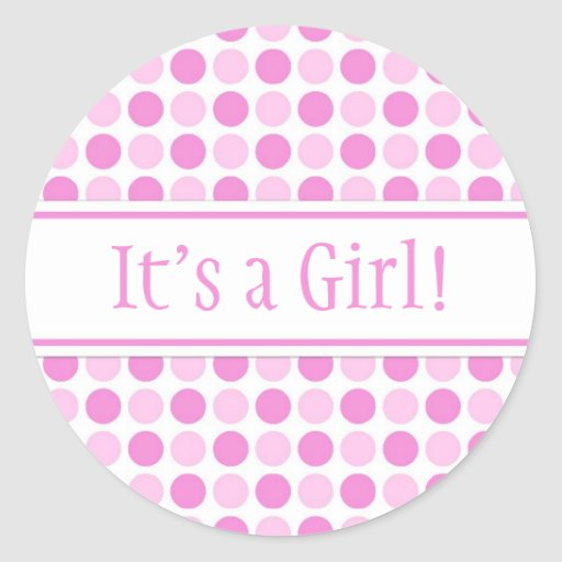 pink dots it 39 s a girl baby shower stickers zazzle