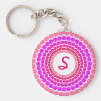 Pink Dots Monogram Basic Round Button Keychain