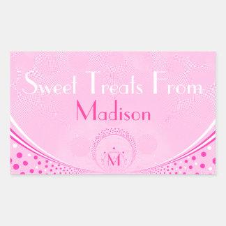 Pink Dots & Swirls-Monogram Sweets Sticker