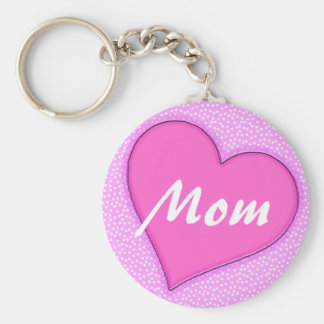 Pink Dotted Mom Heart Basic Round Button Keychain
