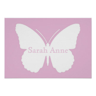 Pink Dotty Butterfly Poster