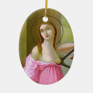 Pink Double Image St. Agatha  (M 003) Ceramic Ornament