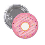 Pink Doughnut with Rainbow Sprinkles 1 Inch Round Button