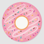 Pink Doughnut with Rainbow Sprinkles Round Sticker