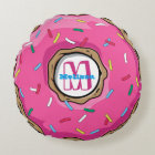 Pink Doughnut with Sprinkles Monogrammed Round Pillow