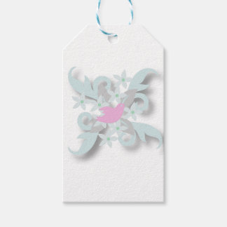 Pink Dove and Silver Leaves Gift Tags