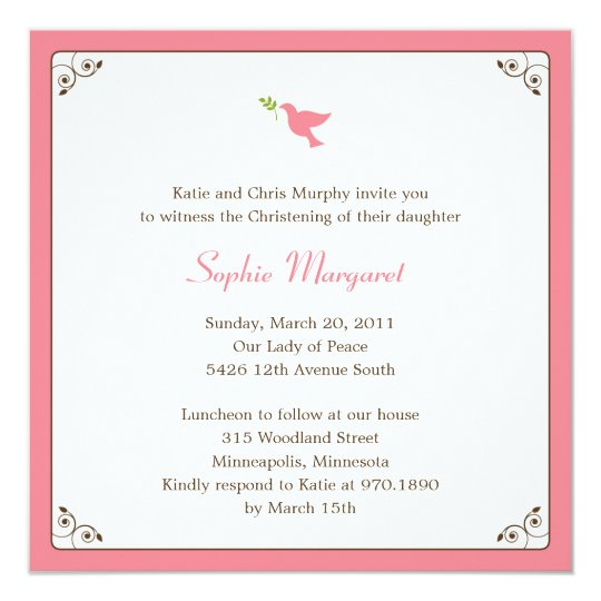 Pink Dove Baptism/Christening Invitation