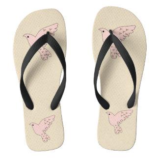 Pink Doves Flip Flops