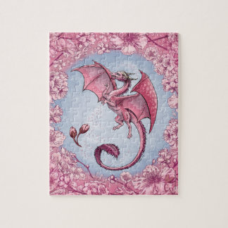 Pink Dragon of Spring Nature Fantasy Art Jigsaw Puzzle