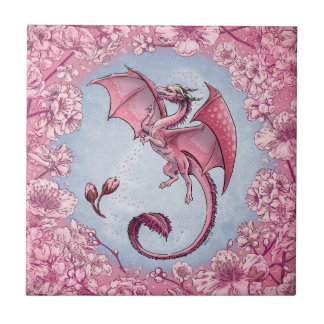 Pink Dragon of Spring Nature Fantasy Art Tile