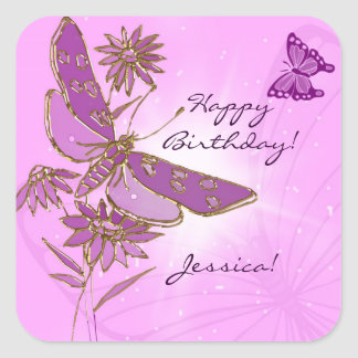Pink Dragonfly Butterfly Stickers